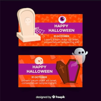 Happy halloween flat banners with ghosts