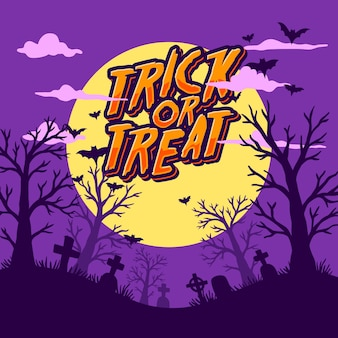 Счастливый хэллоуин плоский дизайн фона