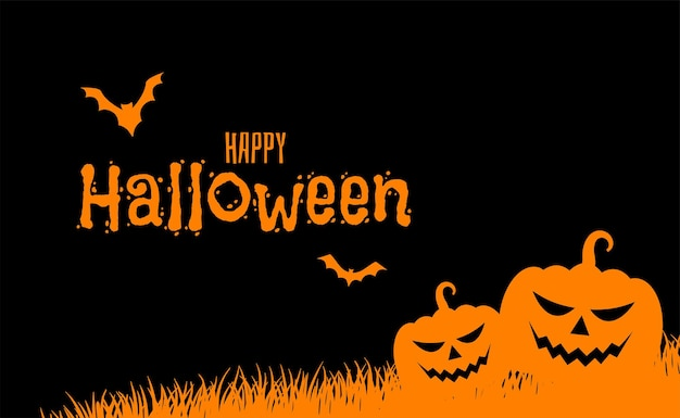 Buon biglietto di halloween piatto arancione e nero