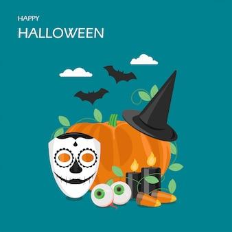Happy halloween  flat style design illustration