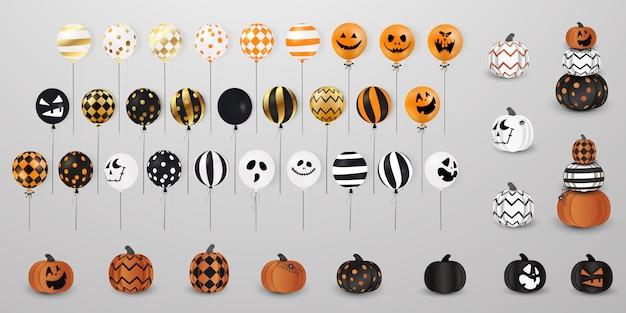 Счастливого хэллоуина. flying big набор жуткие тыквы, блестящие, праздничные шары изолированы. набор хэллоуин блеск конфетти