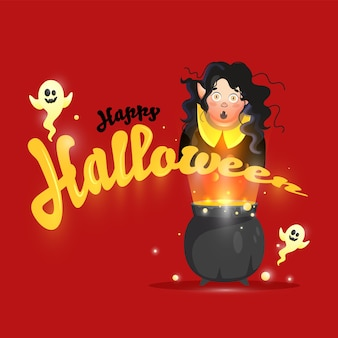 Happy halloween font with cartoon ghosts