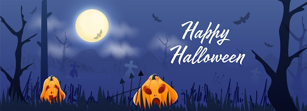 Happy halloween font with jack-o-lanterns and flying bats on full moon blue graveyard background. header or banner .