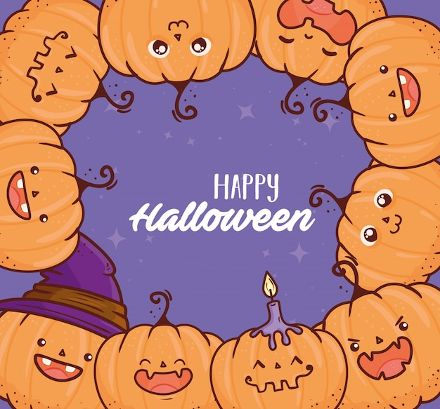 Happy halloween, frame of cute pumpkins with candle and hat witch vector illustration design