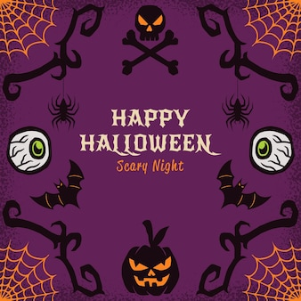 Felice halloween cornice disegnata a mano