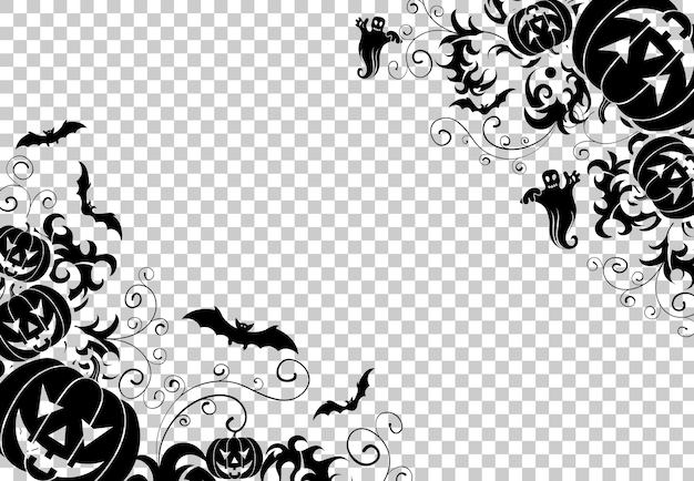 Happy halloween frame with bats, ghost, floral pattern and halloween pumpkins. vector illustration on transparent background