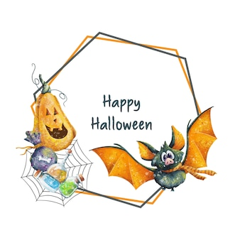 Happy halloween frame with pumpkin and bat