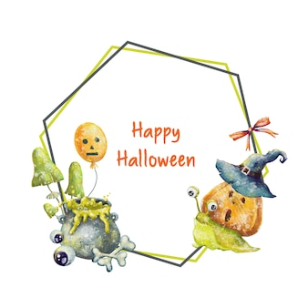 Happy halloween frame with pumpkin and snail