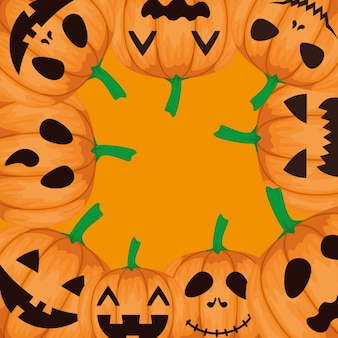 Happy halloween frame with pumpkins pattern