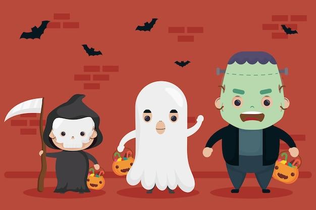 幸せなハロウィーンのフランケンシュタインと幽霊のキャラクターとの死