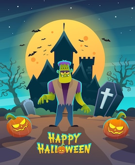 Happy halloween frankenstein monster character with dark night castle and moon concept illustration