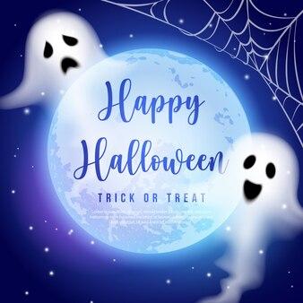 幸せなハロウィーンの満月の夜空の精霊の幽霊と蜘蛛の巣