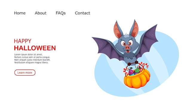 해피 할로윈 재미 있는 박쥐 만화 캐릭터 사탕 바구니를 들고