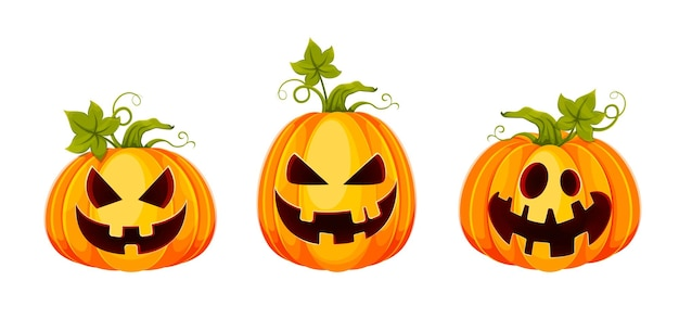Счастливого хэллоуина. веселые фонарики джека о, набор из трех поз. фондовый вектор иллюстрация на белом фоне