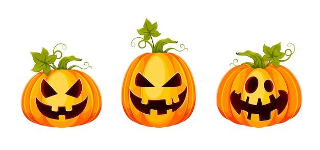 Happy halloween. funny jack o lanterns, set of three poses. stock vector illustration on white background