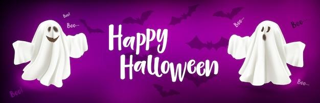 Счастливый хэллоуин призрак и летучие мыши плакат призрак на сиреневом фоне с текстом счастливого хэллоуина