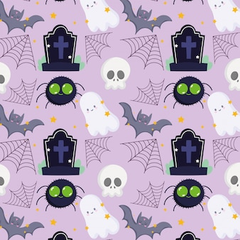 Happy halloween, ghost bats spider skull gravestone trick or treat party celebration background vector illustration