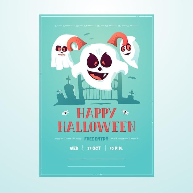 Happy halloween ghost poster flyer invitation