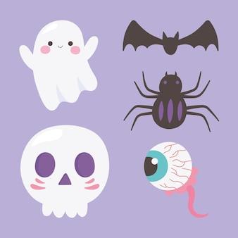 Happy halloween ghost skull spider creepy eye and bat icons illustration