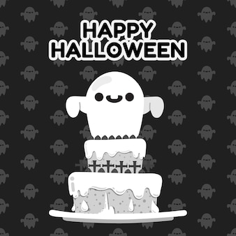 Happy halloween ghosts decorate on top of cake.