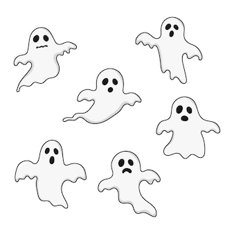 Happy halloween ghosts set icons. scary, spirit isolated on white.