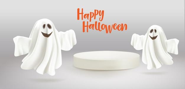 회색 배경 재치 있는 제품 모형 유령을 위한 빈 흰색 연단이 있는 해피 할로윈 유령...