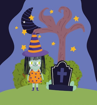Happy halloween, girl with witch costume tombstone night sky trick or treat party celebration vector illustration
