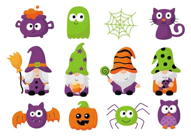 Happy halloween gnomes cartoon character isolated on white background