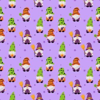 Счастливого хэллоуина гномы мультипликационный персонаж бесшовные модели на фиолетовом фоне