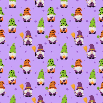 Happy halloween gnomes cartoon character seamless pattern isolated on purple background
