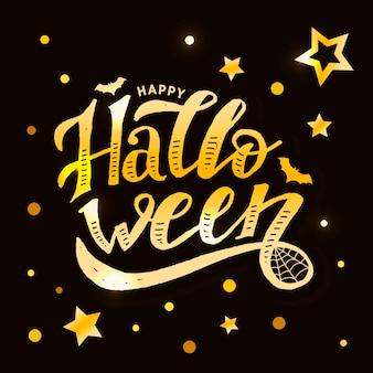 Happy halloween gold lettering