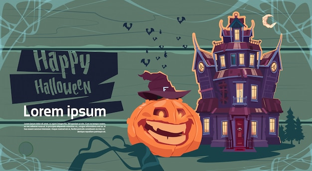 Happy halloween gothic castle with pumpkin greeting card concept