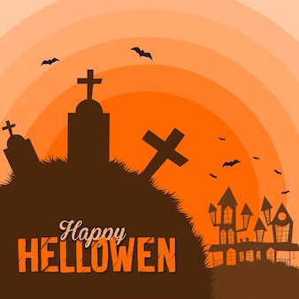 Happy halloween graveyard and castle illustration