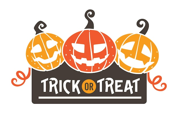 Happy halloween greeting banner, trick or treat. scary pumpkins with carved faces. evil characters symbol of october 31. isolated jack o lanterns and decorative ribbons, vector in flat style