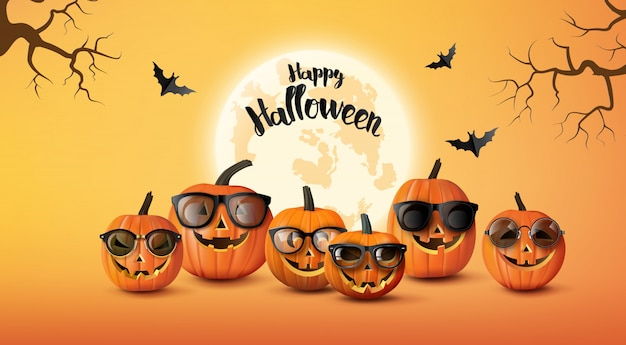 Happy halloween greeting banner with pumpkins and bats .