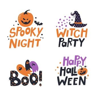 Счастливая поздравительная открытка хэллоуина праздничный логотип