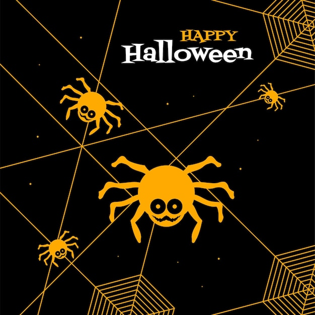 Happy halloween greeting card black and yellow with spider and webs vector design
