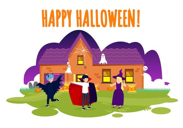 Happy halloween greeting card children in costumes
