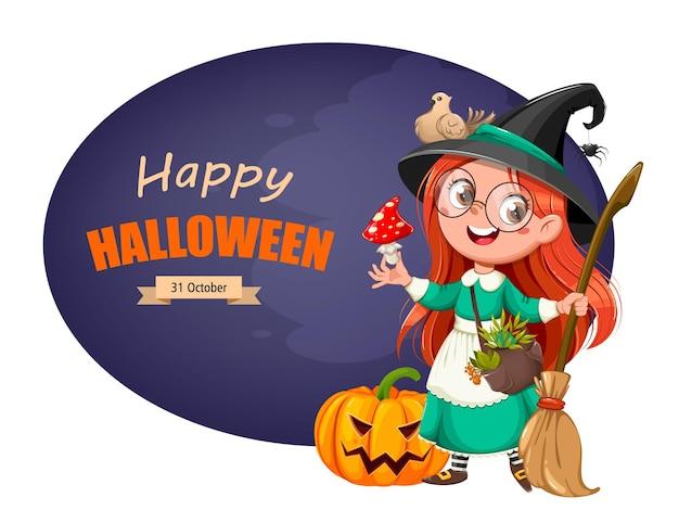Счастливая поздравительная открытка хэллоуина милая девушка ведьма красивая маленькая ведьма мультипликационный персонаж