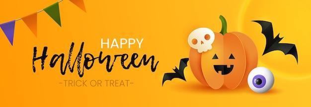 Счастливая поздравительная открытка хэллоуина. милая бумажная тыква, череп, летучие мыши и стеклянный глаз на желтом фоне.