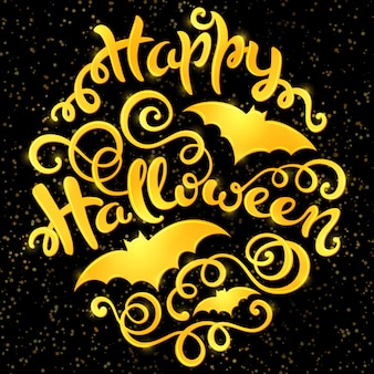 Happy halloween greeting card lettering