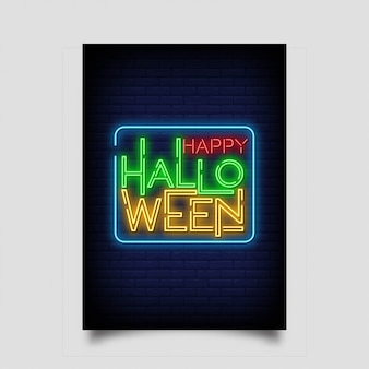 Happy halloween greeting card in neon style.