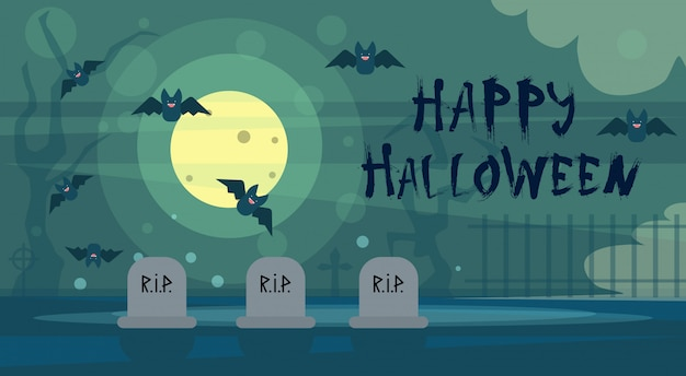 Happy halloween greeting card night on cemetery graveyard