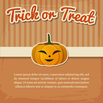 Счастливый хэллоуин открытка или приглашение с бумажной надписью и улыбающейся тыквой