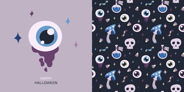Happy halloween greeting card and seamless pattern with eye potion skull mushroom candy