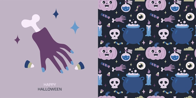 Happy halloween greeting card and seamless pattern with pumpkin potion skull cauldron candle