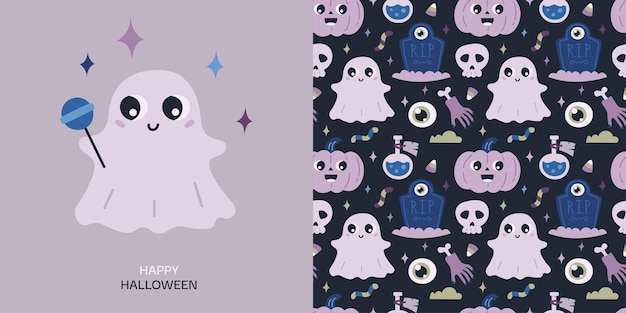 Happy halloween greeting card and seamless pattern with pumpkin potion skull ghost headstone