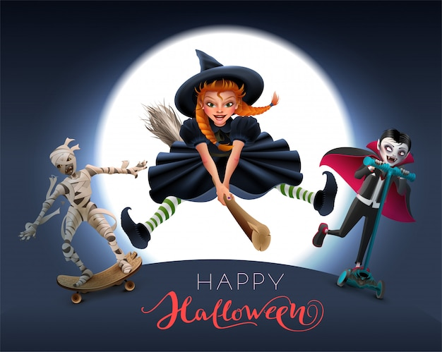 Happy halloween greeting card text. witch on broom, mummy and vampire in night