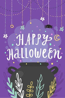 Happy halloween greeting card. vector cartoon illustration
