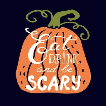 Счастливая поздравительная открытка хэллоуина. вектор рисованной милые иллюстрации. праздничное украшение